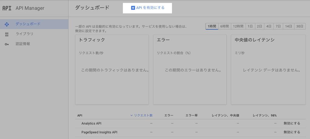 Google Developers Console にてAnalytics APIを有効にしよう。